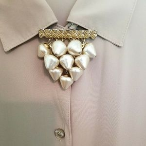 Vintage Brooch | Teardrop Faux Pearls